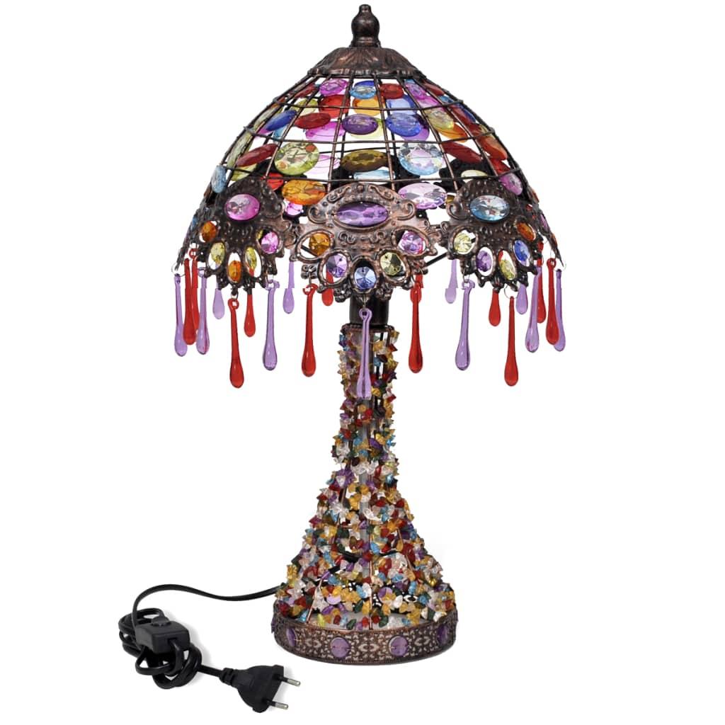 Pestrobarevná stolní lampa s křišťálovými ověsky