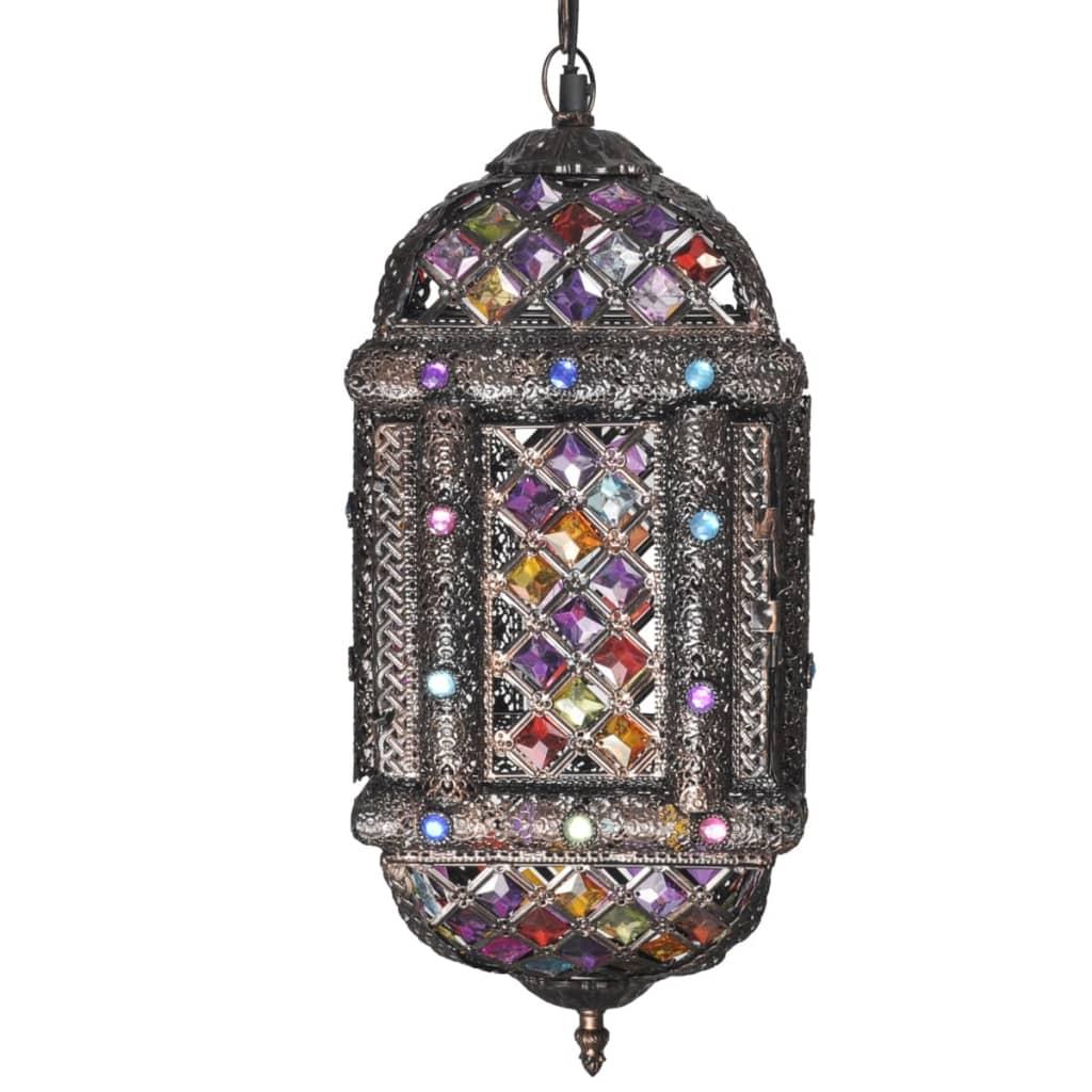 Pestrobarevné kovové závěsné svítidlo s křišťálovými kamínky