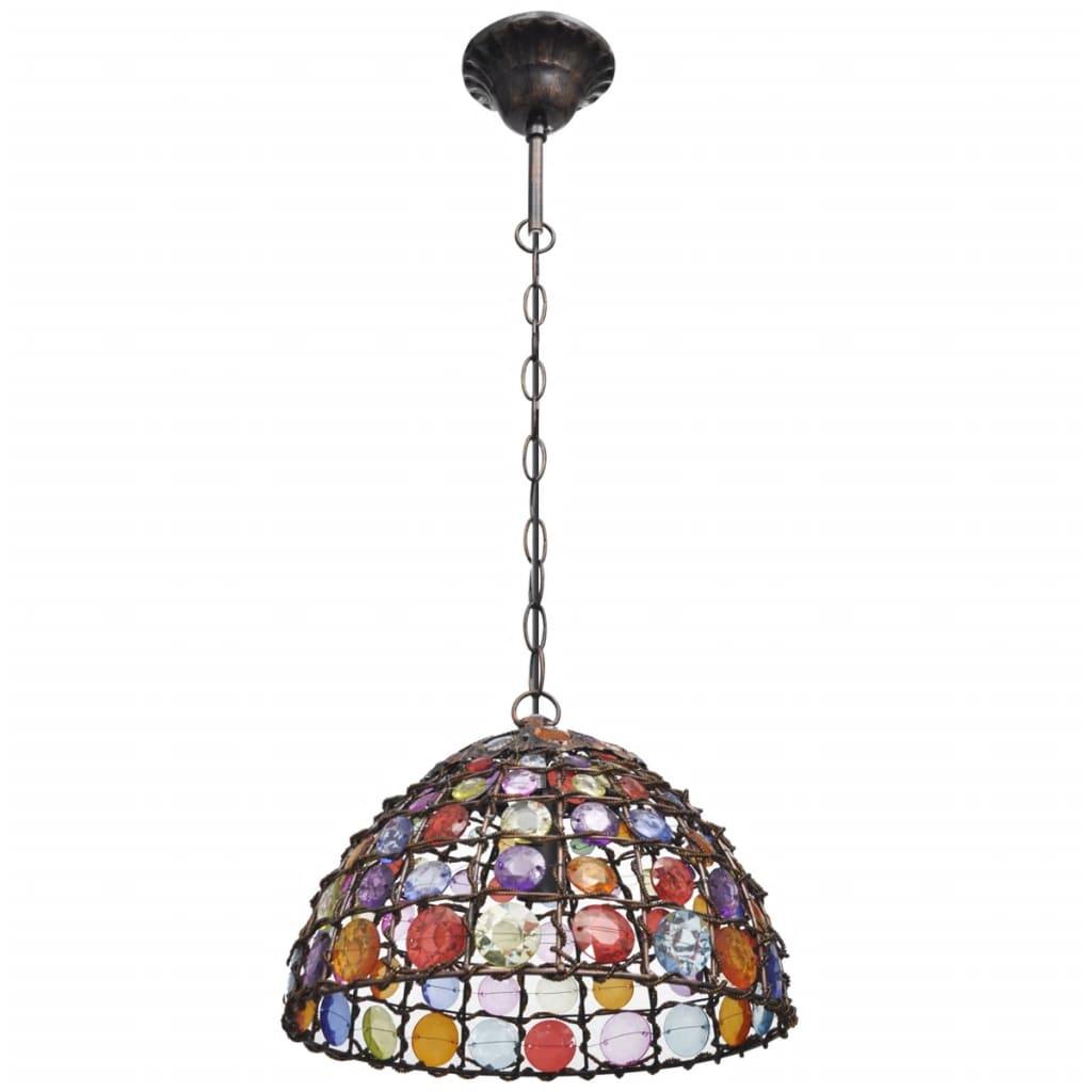 Pestrobarevné kovové závěsné svítidlo kulaté s křišťálovými kamínky