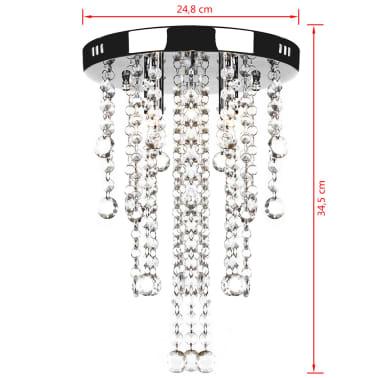 Lámpara blanca colgante de metal con adornos de cristal[5/7]