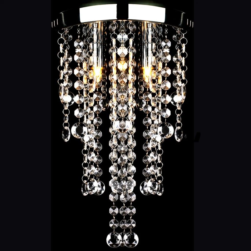 Bílé kovové stropní svítidlo s křišťálovými ověsky