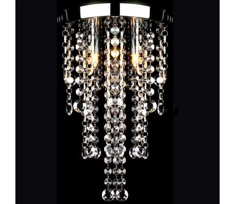 Lámpara blanca colgante de metal con adornos de cristal[1/7]