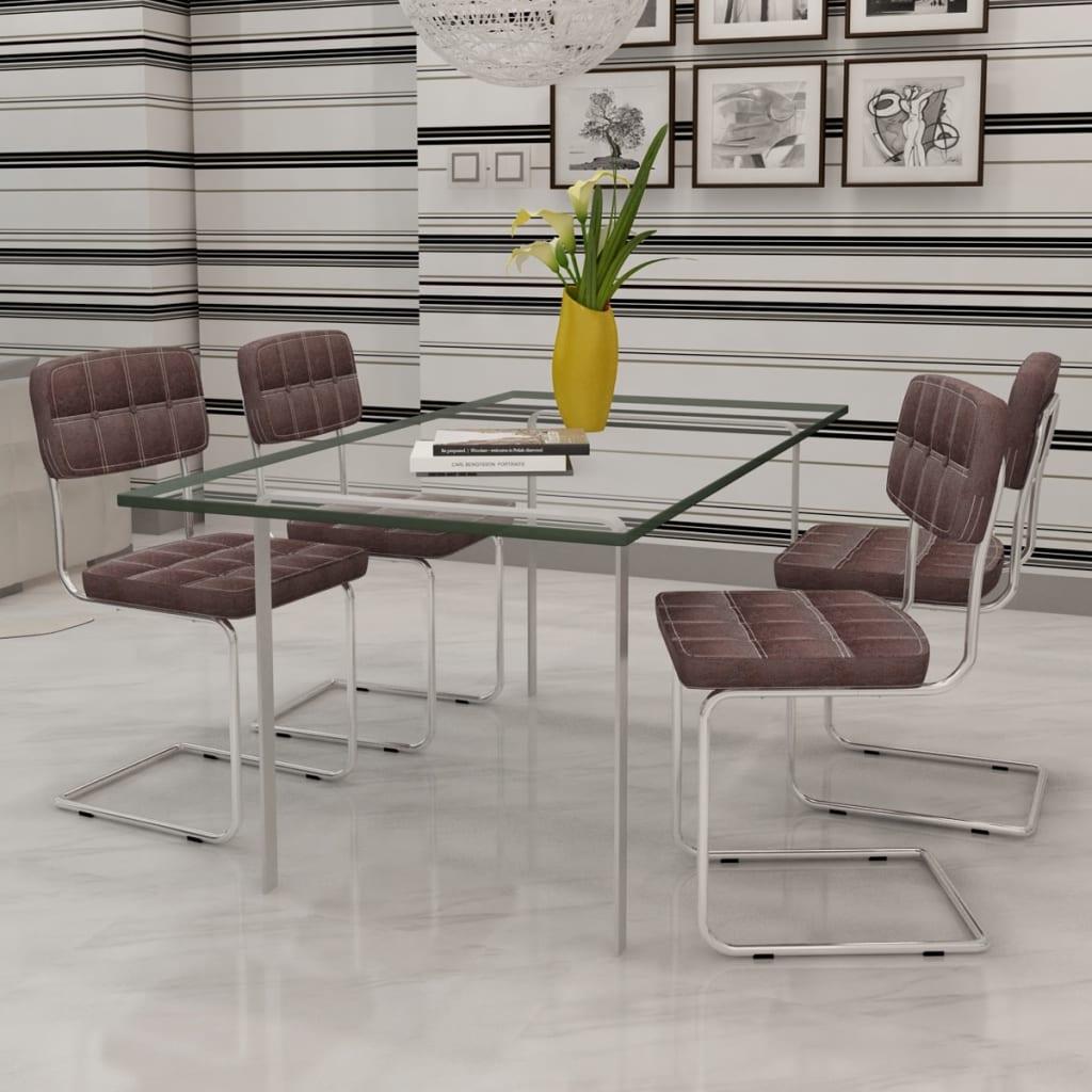 4 ks Hnědé jídelní židle z umělé kůže s knoflíky