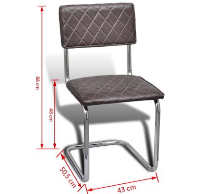 Vidaxl 2 pz sedie da pranzo in pelle artificiale marrone for Sedie in pelle marrone