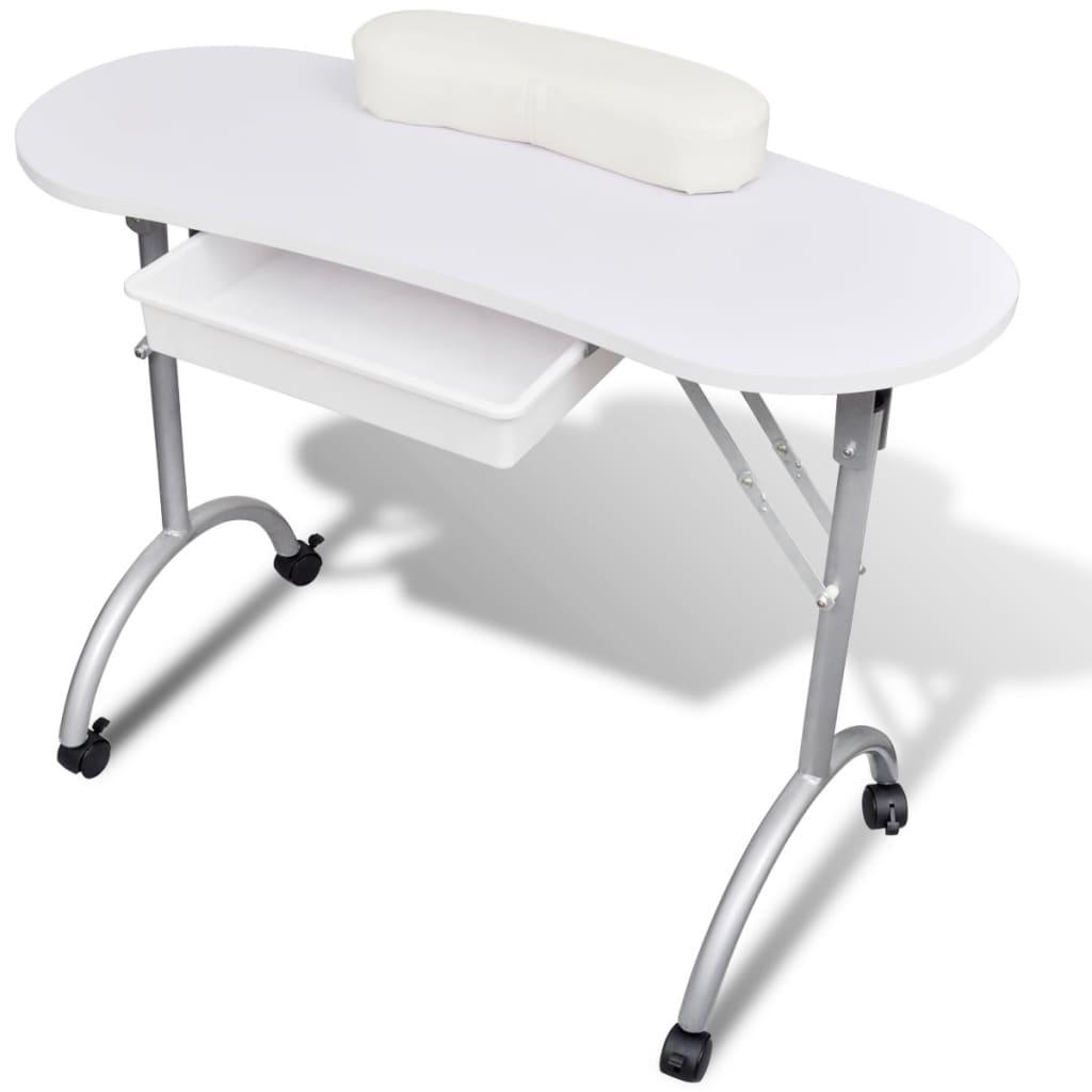 Skládací manikůrní stolek s kolečky - bílý