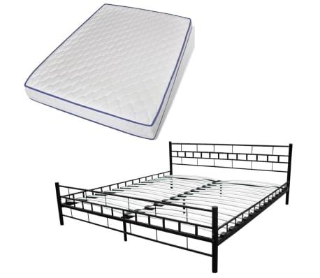 bett metallbett 180 x 200 cm mit matratze schwarz g nstig kaufen. Black Bedroom Furniture Sets. Home Design Ideas