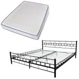 Krevet od metala 180 x 200 cm Crni s madracem od memorijske pjene