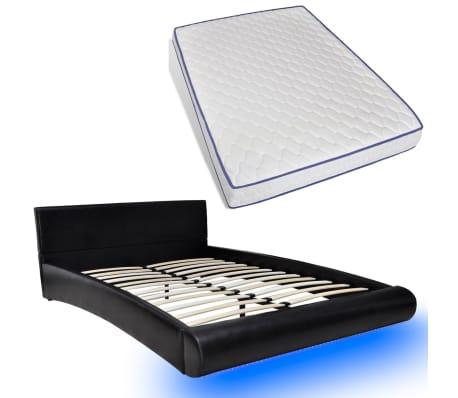 kunstlederbett memory schaum matratze 140 x 200 cm mit led. Black Bedroom Furniture Sets. Home Design Ideas