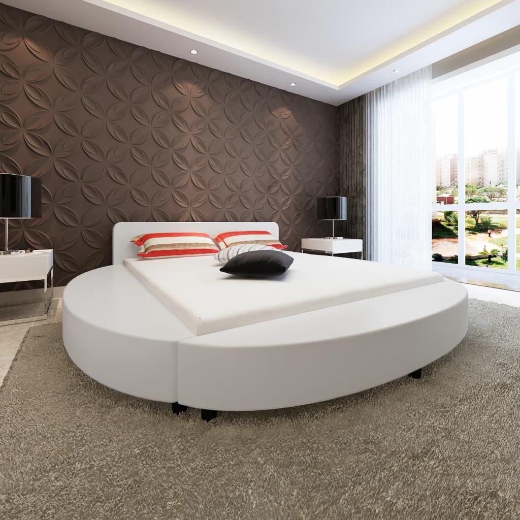 vidaXL Postel s matrací, 180x200 cm, umělá kůže, kulatá, bílá