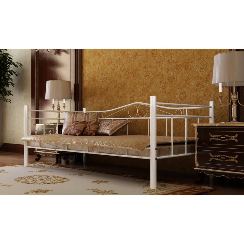 vidaXL Κρεβάτι Λευκό 90 x 200 εκ. Μεταλλικό με Στρώμα