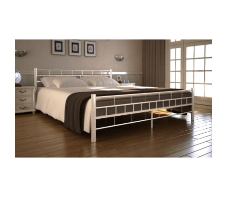 bett metallbett 140 x 200 cm mit memory schaum matratze wei g nstig kaufen. Black Bedroom Furniture Sets. Home Design Ideas