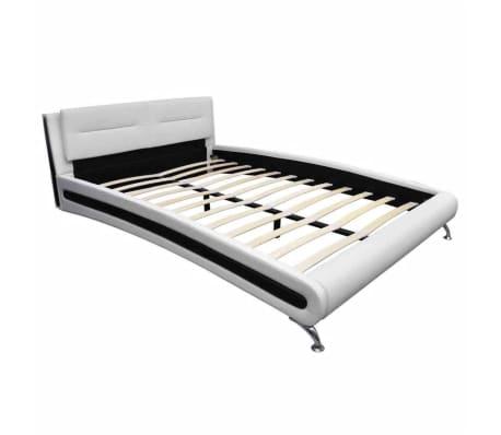 vidaXL Pat cu saltea 140 x 200 cm, piele artificială, alb/negru[3/11]
