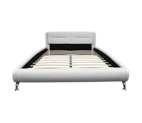 vidaXL Lova su čiužiniu 140 x 200 cm, dirbtinė oda, balta/juoda[4/11]