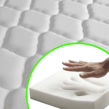 vidaXL Pat cu saltea 140 x 200 cm, piele artificială, alb/negru[10/11]