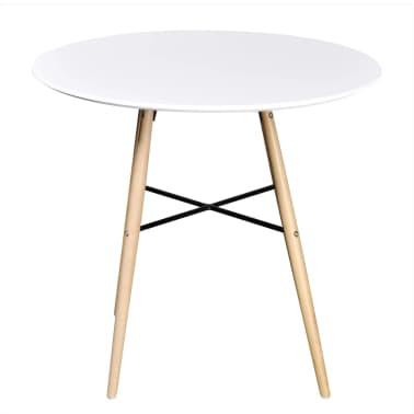 Matně bílý kulatý obdélníkový jídelní stůl[2/3]