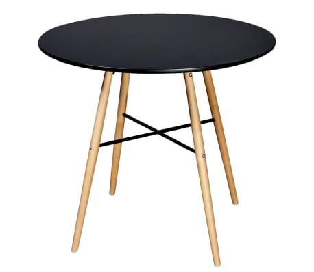 vidaXL Table de salle à manger ronde MDF Noir