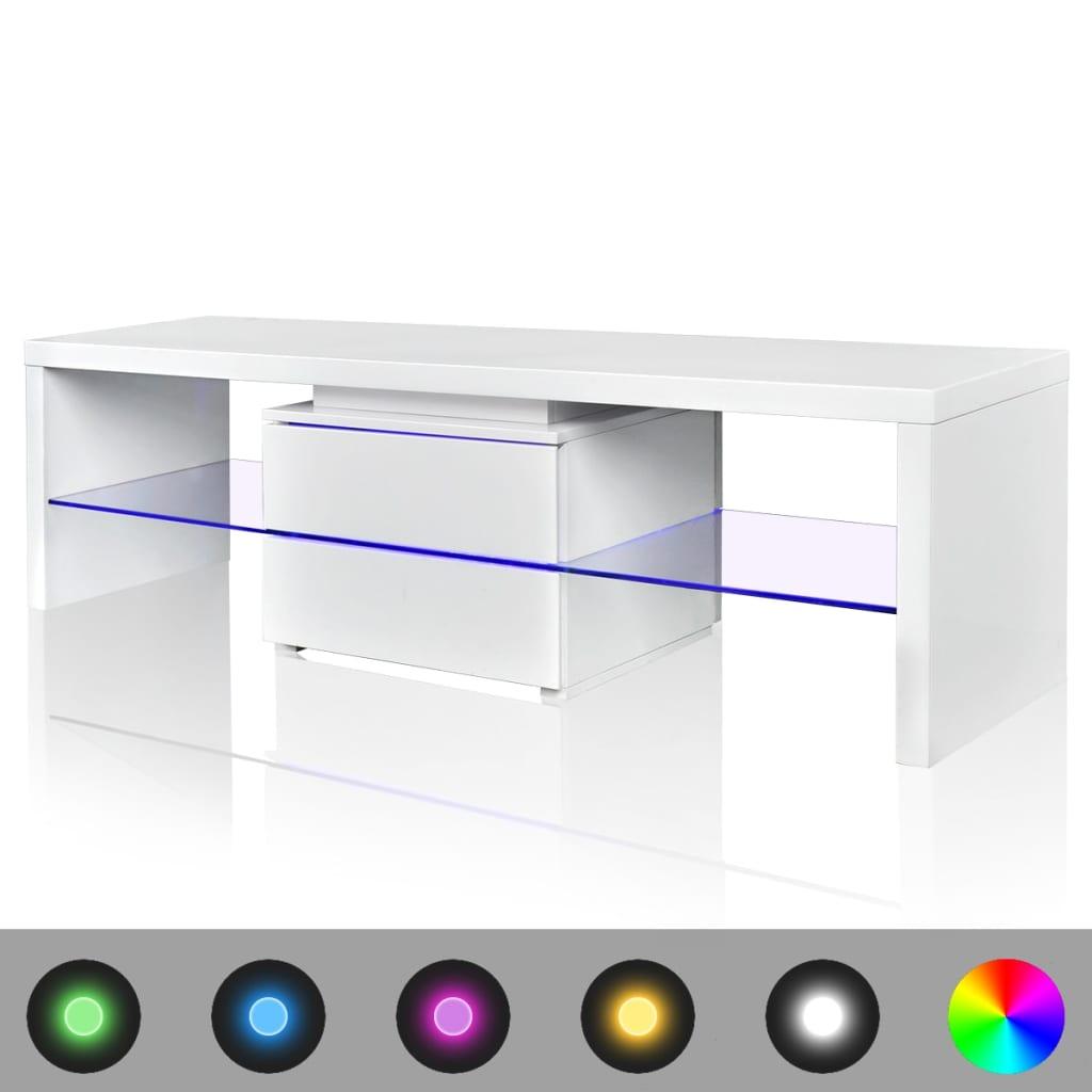 LED vysoce lesklý bílý TV stolek 150 cm