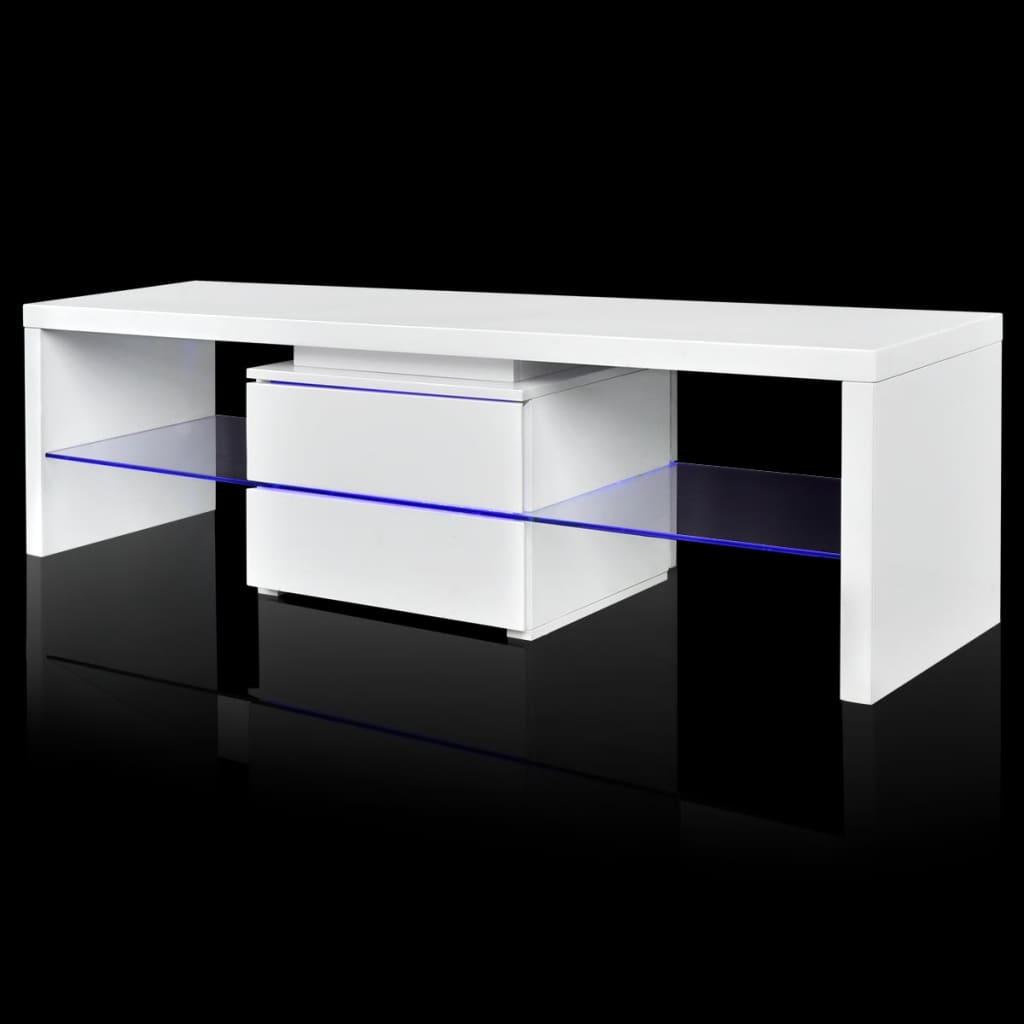 99241305 TV Tisch hochglanz weiß mit LEDs 150 cm