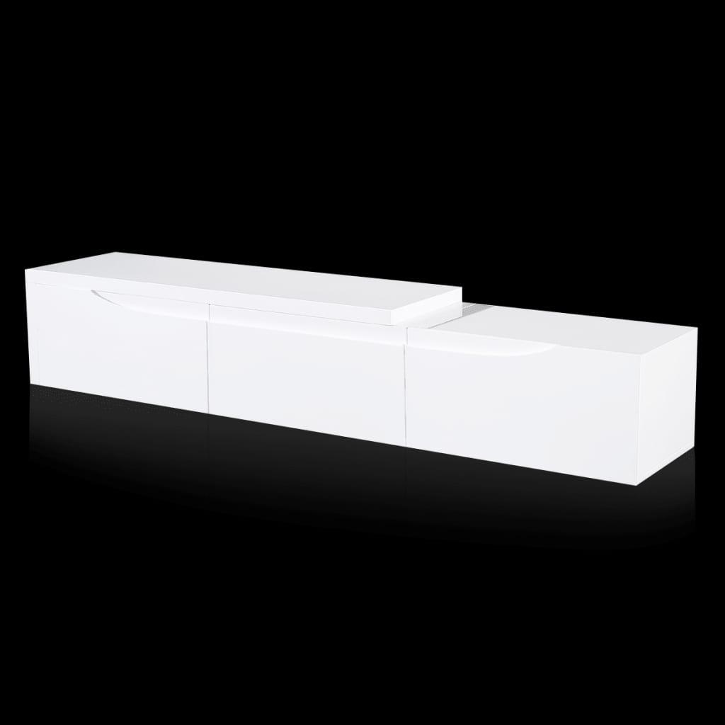 99241306 TV Tisch hochglanz weiß ausziehbar 240 cm