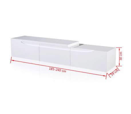 tv tisch hochglanz wei ausziehbar 240 cm im vidaxl. Black Bedroom Furniture Sets. Home Design Ideas