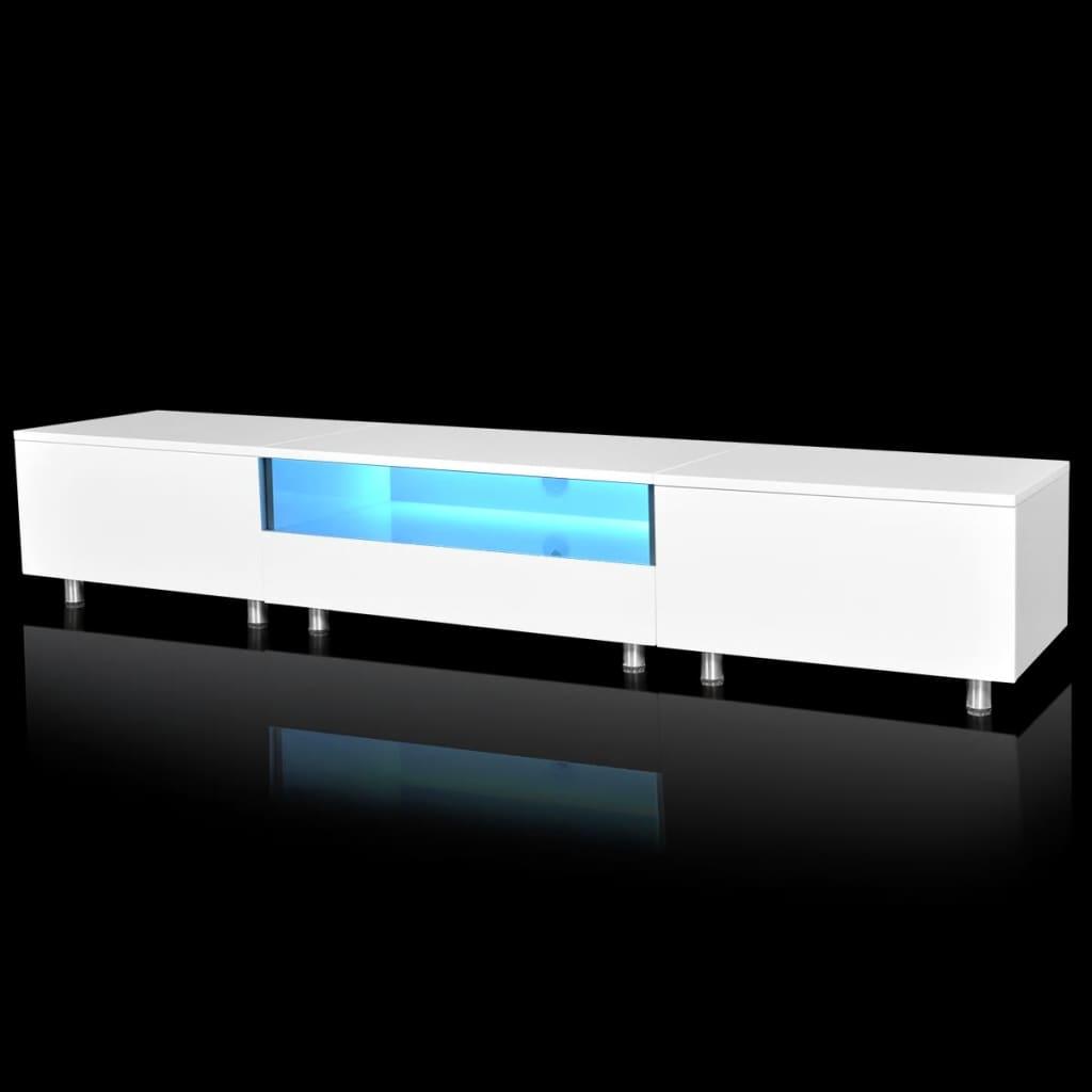 99241307 TV Tisch hochglanz weiß mit LEDs 200 cm