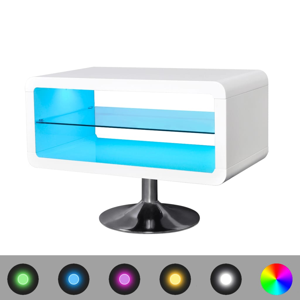 LED bílý TV stolek s vysokým leskem, 80 cm
