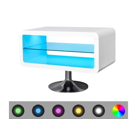 tv tisch hochglanz wei mit leds 80 cm g nstig kaufen. Black Bedroom Furniture Sets. Home Design Ideas