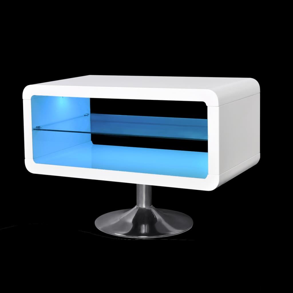 99241309 TV Tisch hochglanz weiß mit LEDs 80 cm
