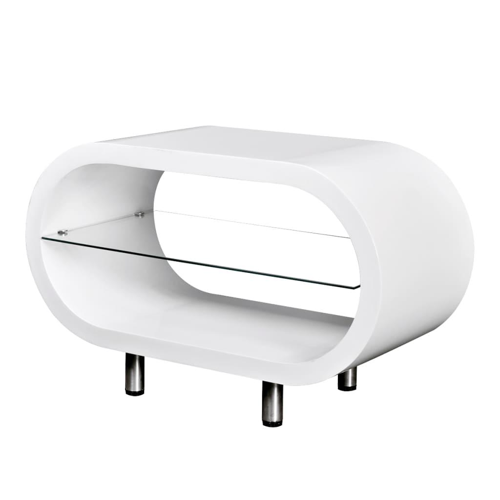 Vysoce lesklý bílý konferenční / TV stolek oválný