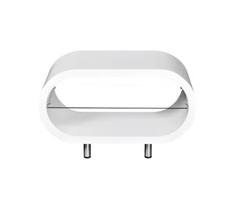 vidaXL Sohvapöytä lasihyllyllä Korkeakiilto valkoinen[2/6]