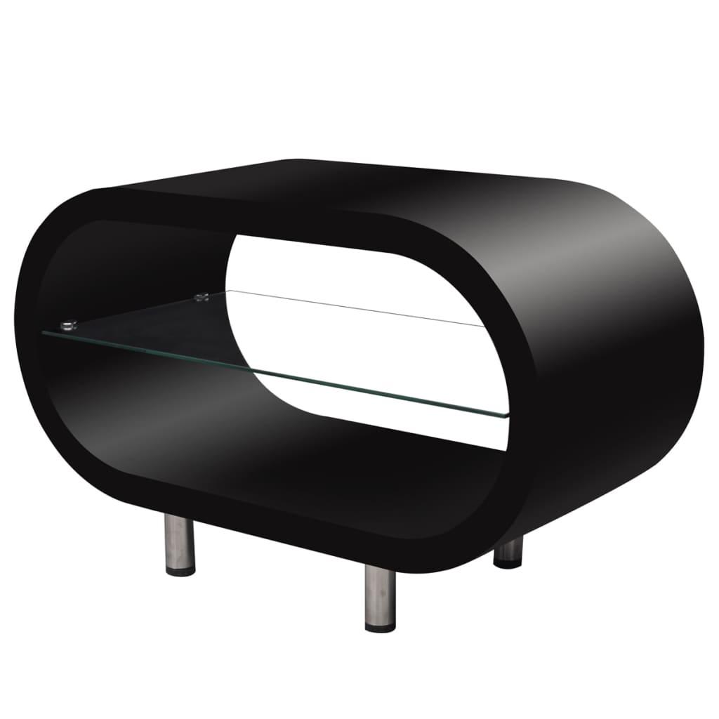 Vysoce lesklý černý konferenční / TV stolek oválný