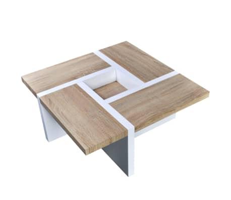 vidaXL Table basse MDF et aspect de chêne Blanc haute brillance[3/5]
