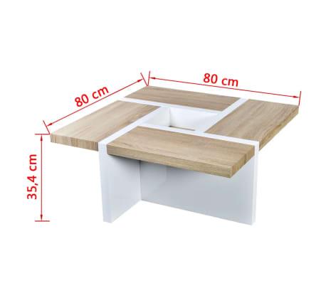 vidaXL Table basse MDF et aspect de chêne Blanc haute brillance[5/5]