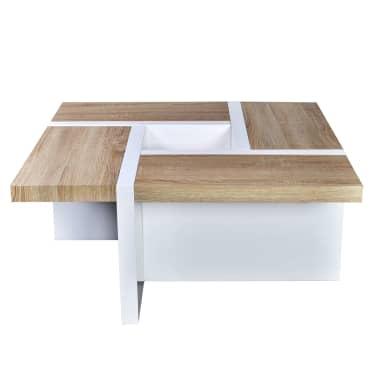 vidaXL Table basse MDF et aspect de chêne Blanc haute brillance[2/5]
