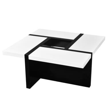 vidaXL Coffee Table MDF High Gloss White and Black[1/4]