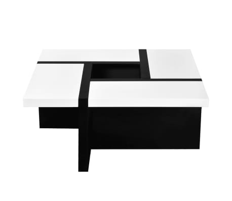 vidaXL Coffee Table MDF High Gloss White and Black[2/4]