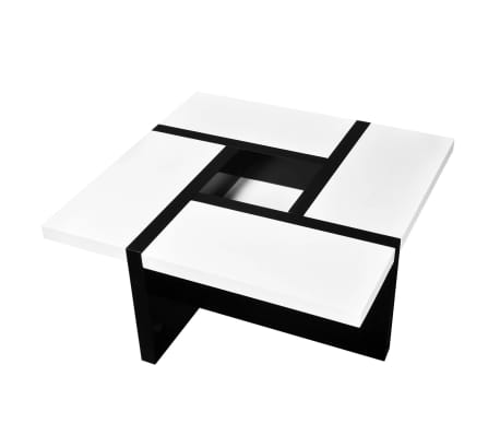 vidaXL Coffee Table MDF High Gloss White and Black[3/4]