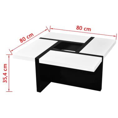 vidaXL Coffee Table MDF High Gloss White and Black[4/4]