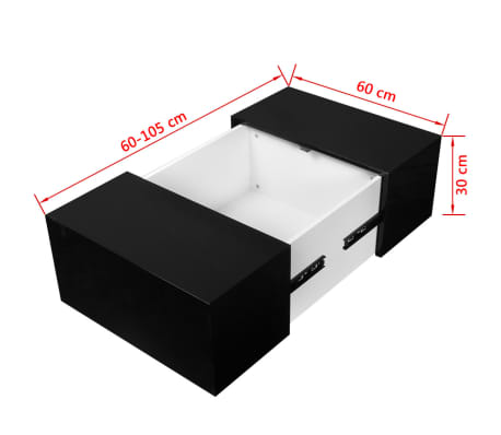 vidaXL Coffee Table with Storage High Gloss Black[6/6]