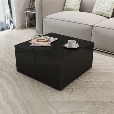 vidaxl table basse avec rangement noir haute brillance. Black Bedroom Furniture Sets. Home Design Ideas