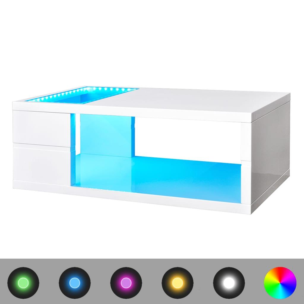 Vysoce lesklý bílý konferenční stolek s LED osvětlením, 41,5 cm