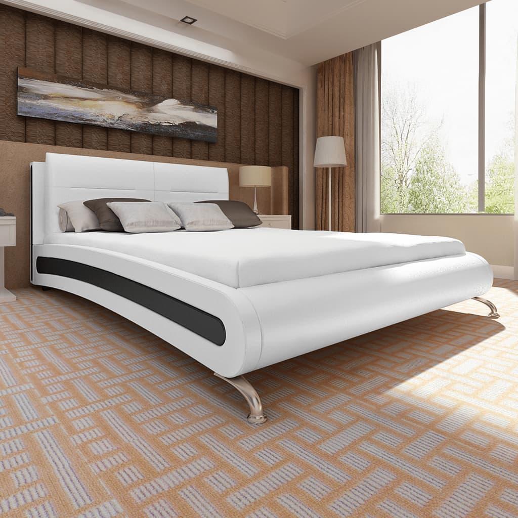 99270597 Bett mit Matratze 180×200 cm Kunstleder Weiß/Schwarz