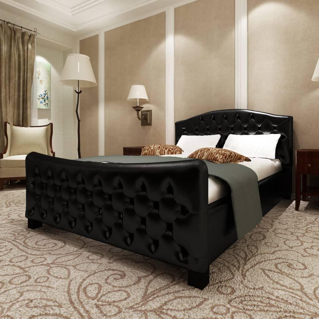 vidaXL Pat cu saltea, negru, 140 x 200 cm, piele artificială poza vidaxl.ro