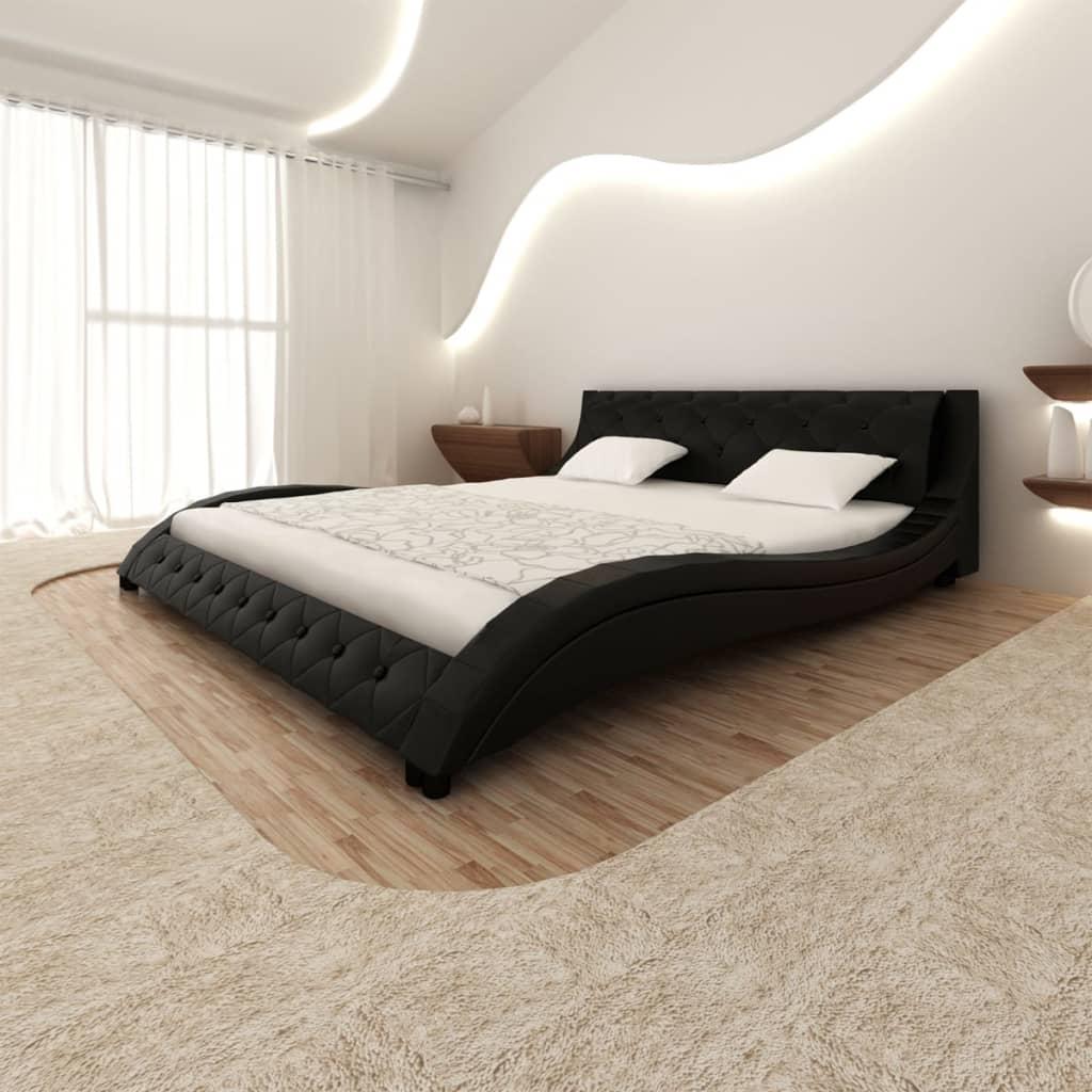 Černá postel tvar vlny, imitace kůže + matrace paměťová pěna 180x200cm
