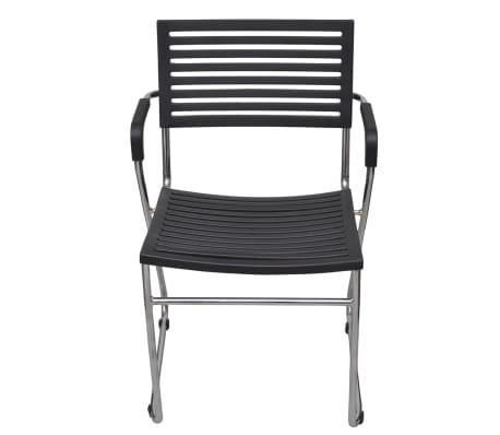 vidaXL Stapelbare Esszimmerstühle 12 Stk. Schwarz Kunststoff