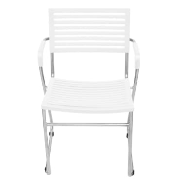vidaXL Stapelbare Esszimmerstühle 12 Stk. Weiß Kunststoff