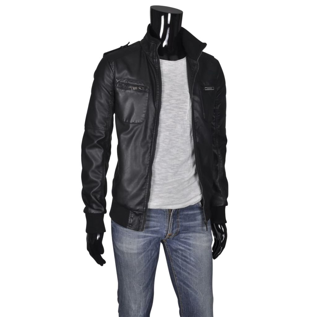 Pánská PU motorkářská bunda, černá, velikost L