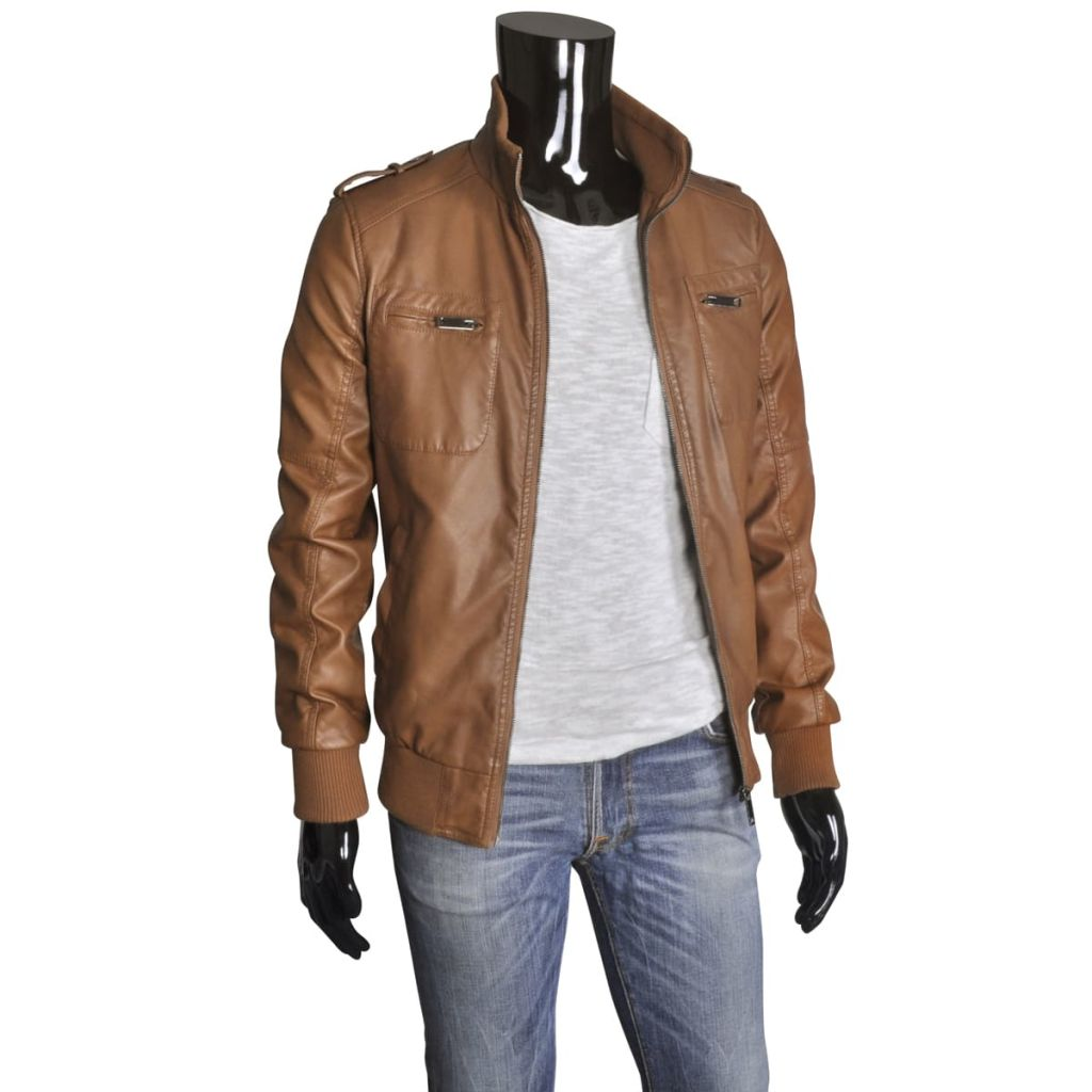 Pánská PU motorkářská bunda, velbloudí hnědá, velikost XL