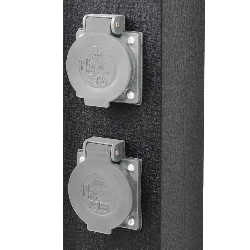 borne 4 prises electrique bloc avec 4 prises ext rieur jardin noir 220 240v 16a ebay. Black Bedroom Furniture Sets. Home Design Ideas