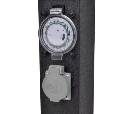 Buitenstopcontact op zuil met tijdschakelaar (zwart)[4/5]